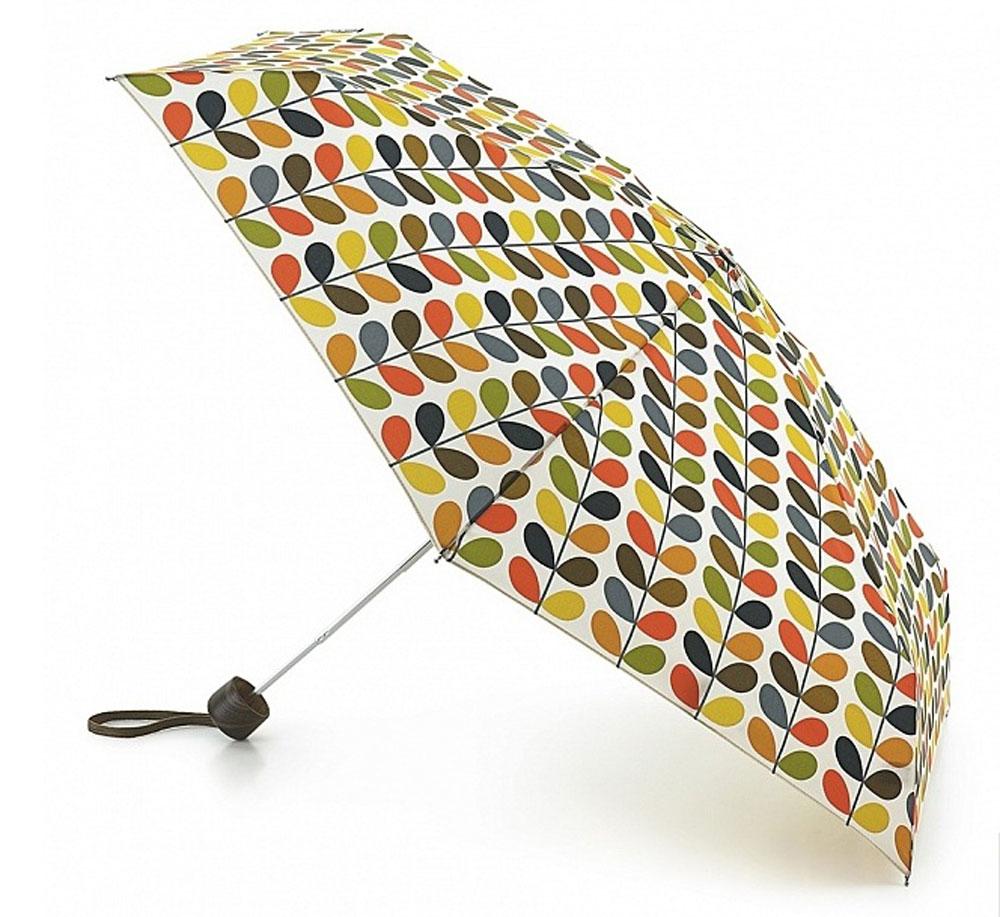 Зонт женский Orla Kiely Microslim, механический, 5 сложений, цвет: мультиколор. L749-1964L749-1964 MulitiStemСтильный механический зонт Orla Kiely Microslim в 5 сложений даже в ненастную погоду позволит вам оставаться элегантной. Облегченный каркас зонта выполнен из 6 спиц из фибергласса и алюминия, стержень также изготовлен из алюминия, удобная рукоятка - из дерева. Купол зонта выполнен из прочного полиэстера и оформлен оригинальным красочным принтом. В закрытом виде застегивается хлястиком на липучку. Зонт механического сложения: купол открывается и закрывается вручную до характерного щелчка. На рукоятке для удобства есть небольшой шнурок, позволяющий при необходимости надеть зонт на руку. К зонту прилагается чехол, закрывающийся на липучку. Изделие упаковано в подарочную коробку. Такой зонт компактно располагается в кармане, сумочке, дверке автомобиля.