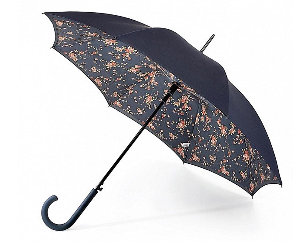 Зонт-трость женский Fulton Bloomsbury, полуавтомат, цвет: черный, красный, зеленый. L754-2940L754-2940 SpringFloralМодный полуавтоматический зонт-трость Fulton Bloomsbury даже в ненастную погоду позволит вам оставаться стильной и элегантной. Каркас зонта включает 8 спиц из фибергласса. Стержень изготовлен из стали. Особенностью этого зонта является наличие двойного купола, выполненного из прочного полиэстера. Верхний купол - однотонный; нижний, скрывающий спицы, оформлен мелким цветочным принтом. Изделие дополнено удобной пластиковой рукояткой с каучуковым покрытием. Зонт оснащен полуавтоматическим механизмом: купол открывается нажатием на кнопку около ручки и закрывается вручную до характерного щелчка. Модель застегивается с помощью хлястика на кнопку. Такой зонт не только надежно защитит вас от дождя, но и станет стильным аксессуаром, который идеально подчеркнет ваш неповторимый образ.