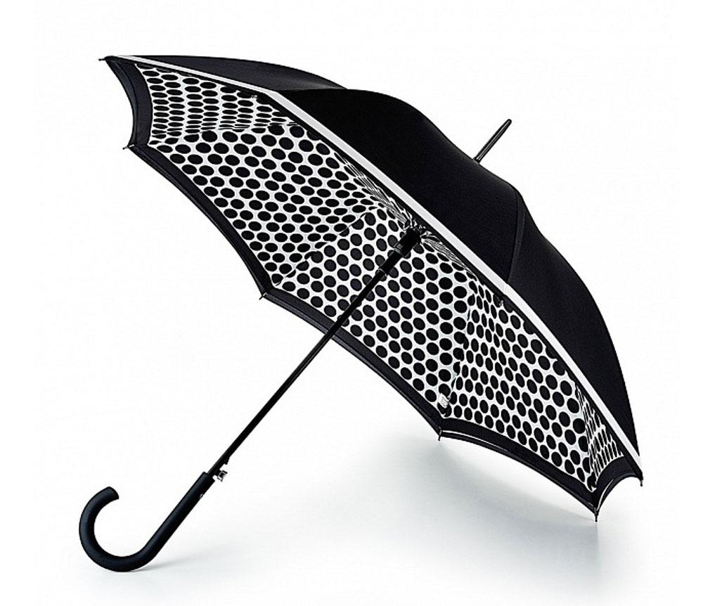 Зонт-трость женский Fulton Bloomsbury, полуавтомат, цвет: черный, белый. L754-3175L754-3175 ContrastSpotМодный полуавтоматический зонт-трость Fulton Bloomsbury даже в ненастную погоду позволит вам оставаться стильной и элегантной. Каркас зонта включает 8 спиц из фибергласса. Стержень изготовлен из стали. Особенностью этого зонта является наличие двойного купола, выполненного из прочного полиэстера. Верхний однотонный купол оформлен контрастной полосой по краю, нижний, скрывающий спицы, - принтом в горох. Изделие дополнено удобной пластиковой рукояткой с каучуковым покрытием. Зонт оснащен полуавтоматическим механизмом: купол открывается нажатием на кнопку около ручки и закрывается вручную до характерного щелчка. Модель застегивается с помощью хлястика на кнопку. Такой зонт не только надежно защитит вас от дождя, но и станет стильным аксессуаром, который идеально подчеркнет ваш неповторимый образ.