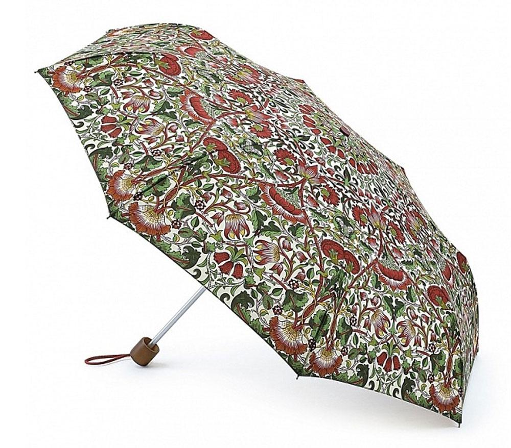 Зонт женский Morris & Co Minilite, механический, 3 сложения, цвет: мультиколор. L757-2795L757-2795 LoddenСтильный механический зонт Morris & Co Minilite в 3 сложения даже в ненастную погоду позволит вам оставаться элегантной. Облегченный каркас зонта выполнен из 8 спиц из фибергласса и алюминия, стержень также изготовлен из алюминия, удобная рукоятка - из дерева. Купол зонта выполнен из прочного полиэстера и оформлен оригинальным красочным принтом. В закрытом виде застегивается хлястиком на липучку. Зонт механического сложения: купол открывается и закрывается вручную до характерного щелчка. На рукоятке для удобства есть небольшой шнурок, позволяющий при необходимости надеть зонт на руку. К зонту прилагается чехол. Такой зонт компактно располагается в глубоком кармане, сумочке, дверке автомобиля.