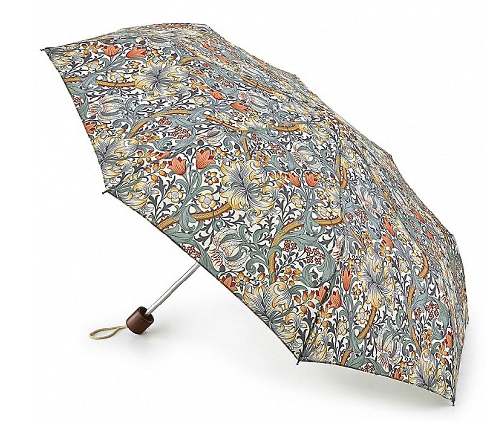 Зонт женский Morris & Co Minilite, механический, 3 сложения, цвет: мультиколор. L757-3199L757-3199 MinorGoldenLilySlateСтильный механический зонт Morris & Co Minilite в 3 сложения даже в ненастную погоду позволит вам оставаться элегантной. Облегченный каркас зонта выполнен из 8 спиц из фибергласса и алюминия, стержень также изготовлен из алюминия, удобная рукоятка - из дерева. Купол зонта выполнен из прочного полиэстера и оформлен оригинальным принтом. В закрытом виде застегивается хлястиком на липучку. Зонт механического сложения: купол открывается и закрывается вручную до характерного щелчка. На рукоятке для удобства есть небольшой шнурок, позволяющий при необходимости надеть зонт на руку. К зонту прилагается чехол. Такой зонт компактно располагается в глубоком кармане, сумочке, дверке автомобиля.