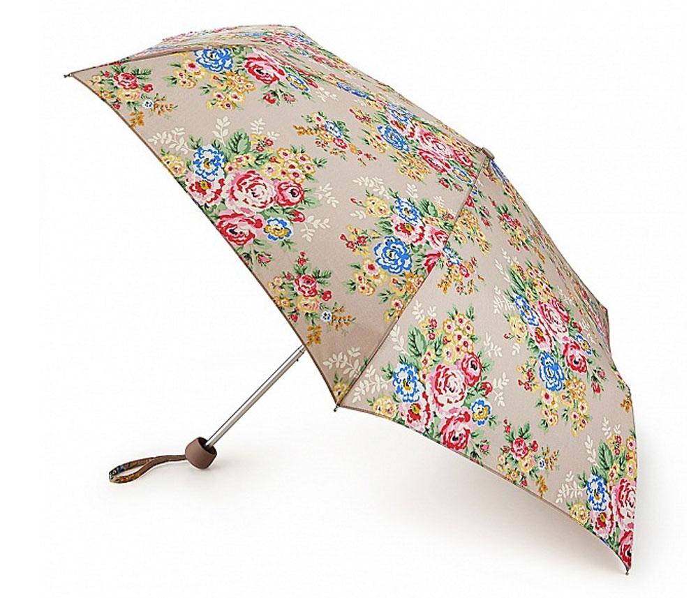 Зонт женский Cath Kidston Minilite, механический, 3 сложения, цвет: бежевый, мультиколор. L768-3139L768-3139 CandyFlowersСтильный механический зонт Cath Kidston Minilite в 3 сложения даже в ненастную погоду позволит вам оставаться элегантной. Облегченный каркас зонта выполнен из 8 спиц из фибергласса и алюминия, стержень также изготовлен из алюминия, удобная рукоятка - из пластика. Купол зонта выполнен из прочного полиэстера. В закрытом виде застегивается хлястиком на липучке. Яркий оригинальный цветочный принт поднимет настроение в дождливый день. Зонт механического сложения: купол открывается и закрывается вручную до характерного щелчка. На рукоятке для удобства есть небольшой шнурок, позволяющий надеть зонт на руку тогда, когда это будет необходимо. К зонту прилагается чехол с небольшой нашивкой с названием бренда. Такой зонт компактно располагается в кармане, сумочке, дверке автомобиля.