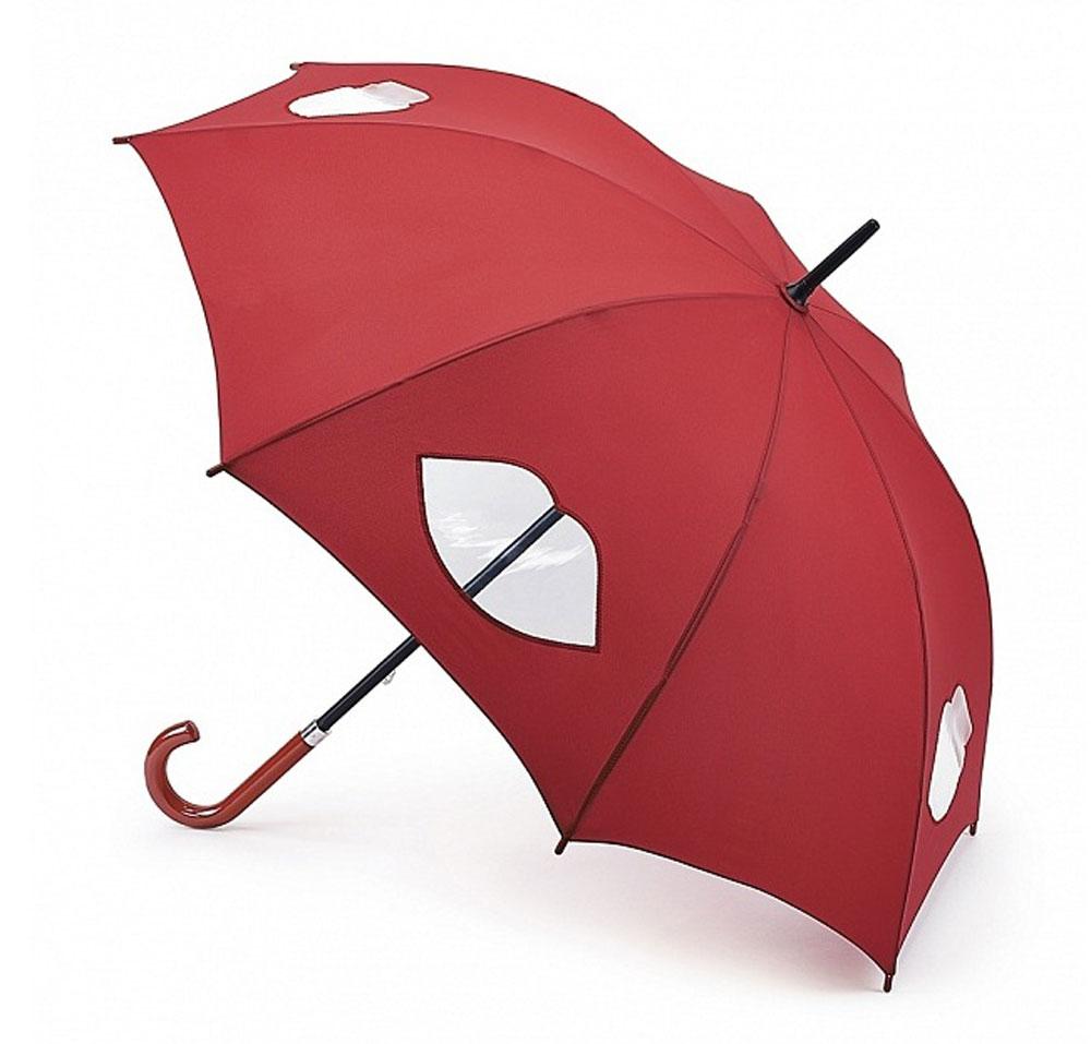 Зонт-трость женский Lulu Guinness Kensington, механический, цвет: темно-красный. L777-2785L777-2785 CutOutLipsМодный механический зонт-трость Fulton Lulu Guinness даже в ненастную погоду позволит вам оставаться стильной и элегантной. Каркас зонта состоит из 8 спиц и стержня из фибергласса. Купол зонта выполнен из прочного полиэстера и оформлен вставками в виде губ, которые выполнены из полупрозрачного материала. Изделие оснащено удобной рукояткой из дерева. Зонт механического сложения: купол открывается и закрывается вручную до характерного щелчка. Модель закрывается при помощи хлястика на кнопке. Такой зонт не только надежно защитит вас от дождя, но и станет стильным аксессуаром, который идеально подчеркнет ваш неповторимый образ.