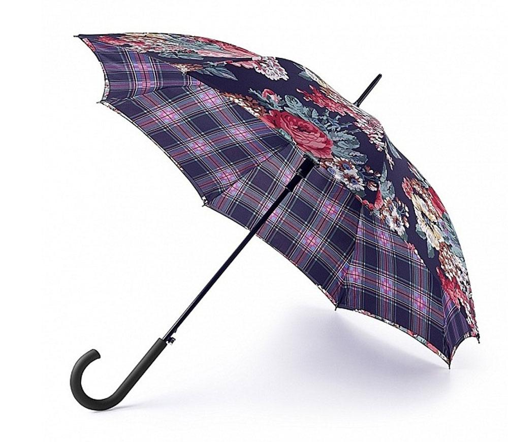 Зонт-трость женский Cath Kidston Bloomsbury, полуавтомат, цвет: мультиколор. L778-3062L778-3062 BlackFrestonCheckМодный полуавтоматический зонт-трость Cath Kidston Bloomsbury даже в ненастную погоду позволит вам оставаться стильной и элегантной. Каркас зонта включает 8 спиц из фибергласса. Стержень изготовлен из стали. Особенностью этого зонта является наличие двойного купола, выполненного из прочного полиэстера. Верхний купол оформлен крупным цветочным принтом, нижний, скрывающий спицы, - принтом в клетку. Изделие дополнено удобной пластиковой рукояткой с каучуковым покрытием. Зонт оснащен полуавтоматическим механизмом: купол открывается нажатием на кнопку около ручки и закрывается вручную до характерного щелчка. Модель застегивается с помощью хлястика на липучку. Такой зонт не только надежно защитит вас от дождя, но и станет стильным аксессуаром, который идеально подчеркнет ваш неповторимый образ.