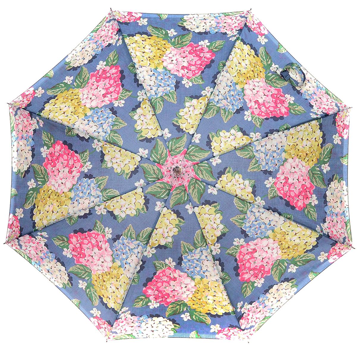 Зонт-трость женский Cath Kidston Bloomsbury, полуавтомат, цвет: мультиколор. L778-3144L778-3144 HydrangeaМодный полуавтоматический зонт-трость Cath Kidston Bloomsbury даже в ненастную погоду позволит вам оставаться стильной и элегантной. Каркас зонта включает 8 спиц из фибергласса. Стержень изготовлен из стали. Особенностью этого зонта является наличие двойного купола, выполненного из прочного полиэстера. Верхний купол оформлен крупным цветочным принтом, нижний, скрывающий спицы, - мелким. Изделие дополнено удобной пластиковой рукояткой с каучуковым покрытием. Зонт оснащен полуавтоматическим механизмом: купол открывается нажатием на кнопку около ручки и закрывается вручную до характерного щелчка. Модель застегивается с помощью хлястика на липучку. Такой зонт не только надежно защитит вас от дождя, но и станет стильным аксессуаром, который идеально подчеркнет ваш неповторимый образ.