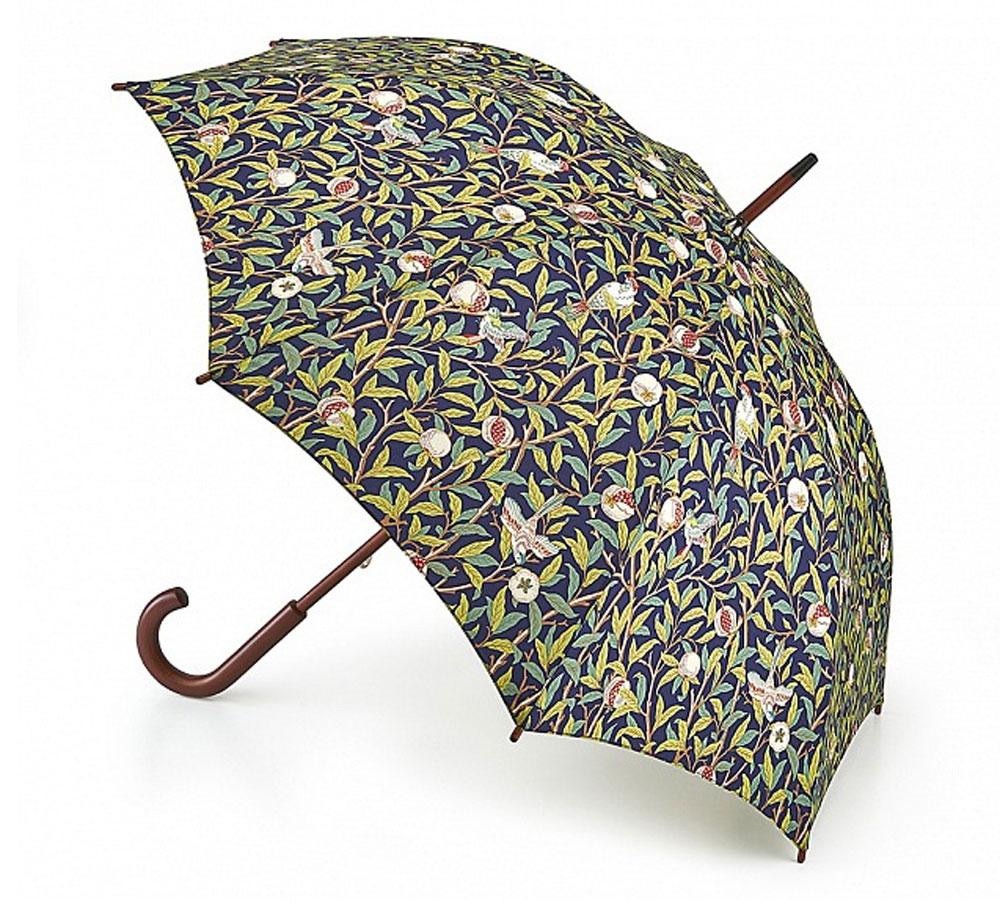 Зонт-трость женский Morris & Co Kensington, механический, цвет: темно-синий, зеленый, кремовый, терракотовый. L788-3198L788-3198 BirdsAndPomergranateМодный механический зонт-трость в итальянском стиле Morris & Co Kensington даже в ненастную погоду позволит вам оставаться стильной и элегантной. Каркас зонта включает 8 спиц из фибергласса с деревянным наконечниками. Стержень изготовлен из дерева. Купол зонта выполнен из износостойкого полиэстера и оформлен оригинальным цветочным принтом. Изделие дополнено удобной рукояткой из гладкого дерева. Зонт механического сложения: купол открывается и закрывается вручную до характерного щелчка. Модель дополнительно застегивается с помощью двух хлястиков на кнопки. Такой зонт не только надежно защитит вас от дождя, но и станет стильным аксессуаром, который идеально подчеркнет ваш неповторимый образ.