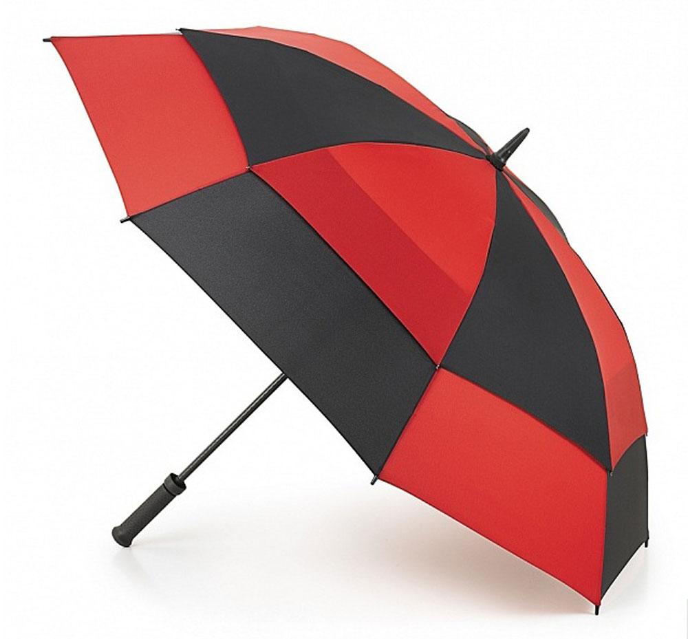 Зонт-гольфер мужской Fulton Stormshield, механический, цвет: черный, красный. S669-2168S669-2168 RedBlackМеханический мужской зонт-гольфер Fulton Clearview надежно защитит вас от дождя. Каркас зонта включает 8 спиц из фибергласса с пластиковыми наконечниками. Стержень также изготовлен из фибергласса. Купол зонта выполнен из высококачественного полиэстера и оформлен оригинальным принтом. Изделие дополнено удобной пластиковой рукояткой с каучуковым покрытием. Зонт механического сложения: купол открывается и закрывается вручную до характерного щелчка. Модель дополнительно застегивается с помощью хлястика на липучку. В комплект также входит чехол на липучке. Такой зонт станет стильным аксессуаром, который подчеркнет ваш образ.