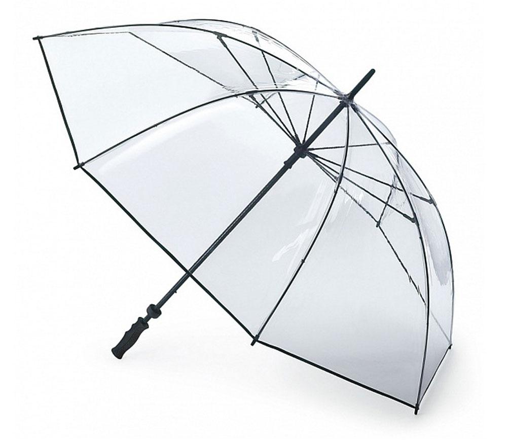 Зонт-гольфер мужской Fulton Clearview, механический, цвет: прозрачный. S841-004S841-004 ClearМеханический мужской зонт-гольфер Fulton Clearview надежно защитит вас от дождя. Каркас зонта включает 8 спиц из фибергласса с пластиковыми наконечниками. Стержень также изготовлен из фибергласса. Купол зонта выполнен из высококачественного прозрачного ПВХ и по краю декорирован текстильной узкой полоской. Изделие дополнено удобной пластиковой рукояткой с каучуковым покрытием. Зонт механического сложения: купол открывается и закрывается вручную до характерного щелчка. Модель дополнительно застегивается с помощью хлястика на кнопку. Такой зонт станет стильным аксессуаром, который подчеркнет ваш образ.