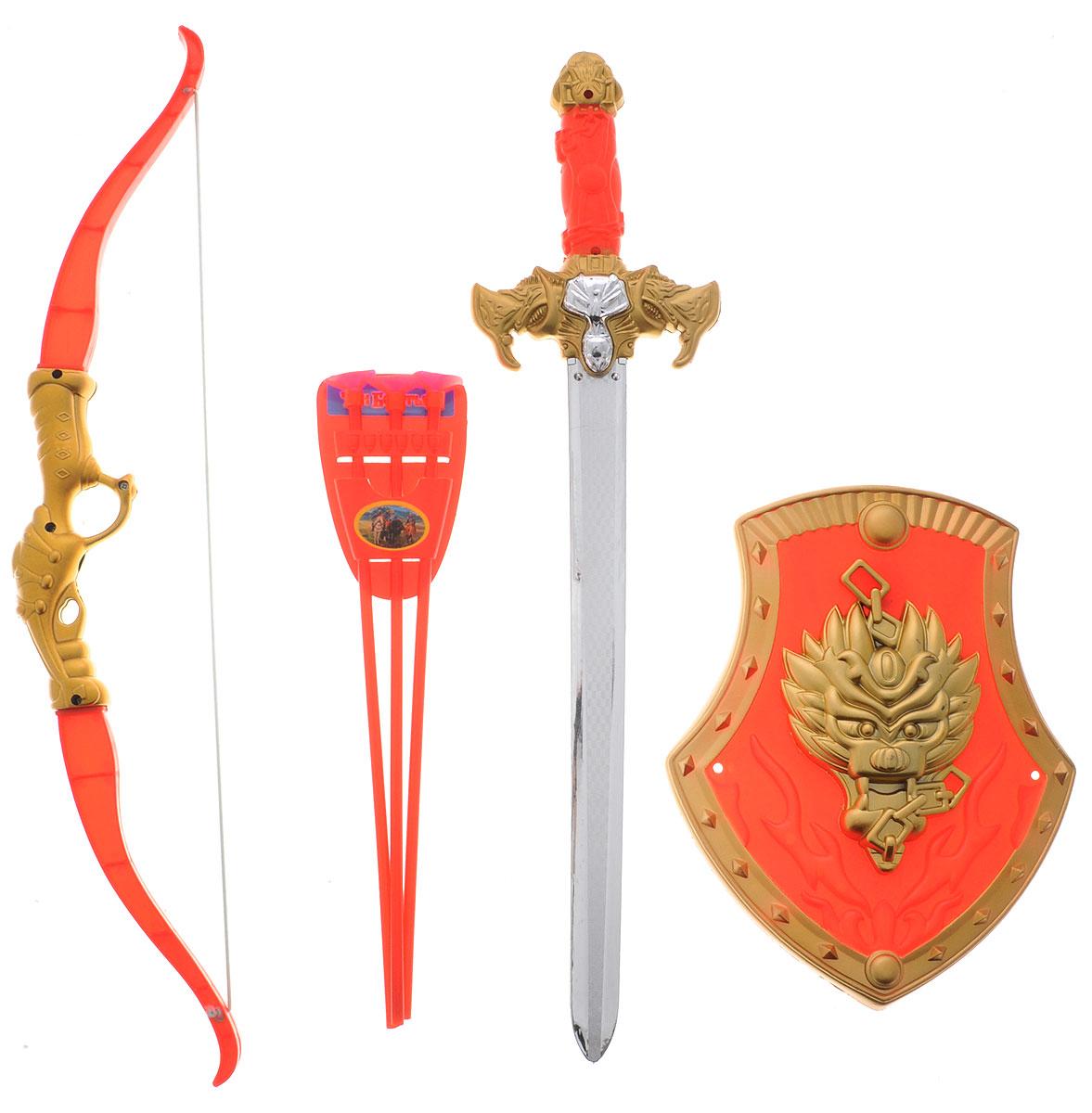 Играем вместе Набор оружия Три богатыря красный золотистый 7 предметовB417167-R2С набором оружия Играем вместе Три богатыря ваш ребенок почувствует себя настоящим защитником и сможет создать несколько игровых сцен средневековья, попробовав себя в роли рыцаря или богатыря. В набор входят щит, меч, лук, футляр для стрел и три стрелы. Все элементы выполнены из прочного и безопасного для ребенка материала. Порадуйте своего ребенка таким замечательным подарком!