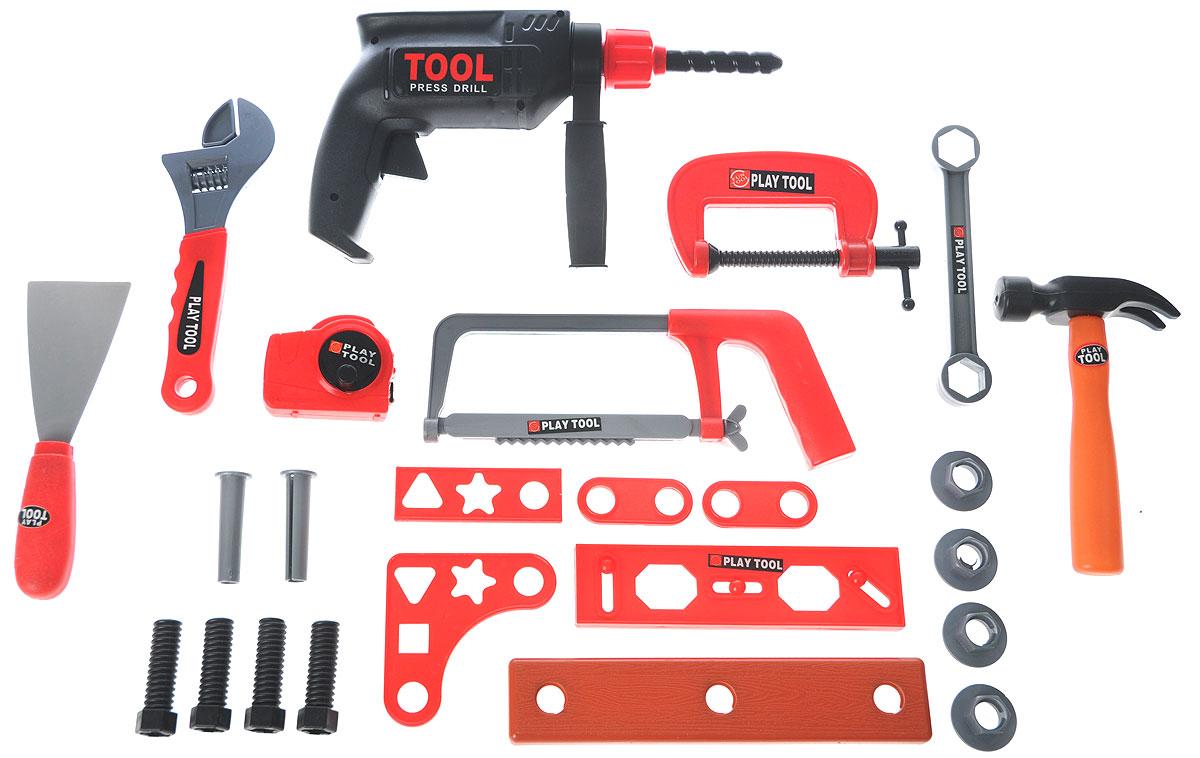 Altacto Игровой набор инструментов СпециалистALT0202-012Игровой набор инструментов Altacto Специалист станет отличным подарком для маленького мастера. В наборе имеется все, что может пригодиться юному строителю: инерционная дрель, струбцина, гаечный ключ, молоток, шпатель, разводной ключ, рулетка, ножовка, уровень, дощечка, различные скобяные изделия. Малыш сможет отремонтировать игрушки и устранить все неисправности в доме, помогая папе. Игры с этим набором способствуют развитию воображения и познавательного мышления. Все инструменты аккуратно складываются в специальный пластиковый кейс. Набор удобно хранить и переносить.