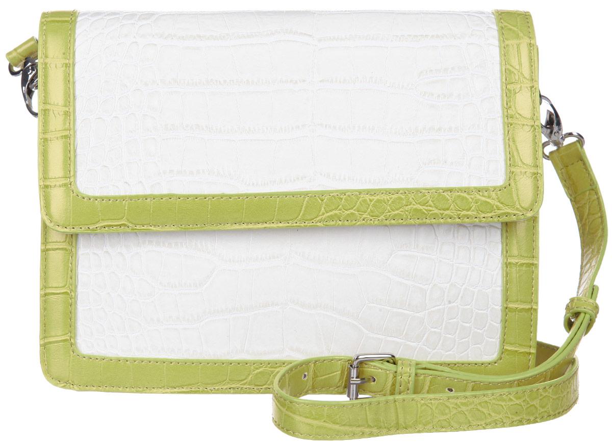 Сумка женская Calipso, цвет: молочный, желто-зеленый. 422-191286-231422-191286-231Стильная женская сумка Calipso выполнена из искусственной кожи. Модель жесткой конструкции, оформлена тиснением под крокодила и контрастным обрамлением края. Сумка состоит из одного основного отделения, закрывающегося клапаном на магнитной кнопке. Изделие содержит карман-средник на молнии, врезной карман на молнии, два накладных кармана для мелочей и ремешок с кольцом для ключей. На тыльной стороне сумки предусмотрен врезной карман на молнии. Сумка оснащена съемным плечевым ремнем, регулируемой длины. Прилагается фирменный текстильный чехол для хранения. Сумка - это стильный аксессуар, который сделает ваш образ изысканным и завершенным. Классические формы и оригинальное оформление сумки Calipso подчеркнет ваше отменное чувство стиля.