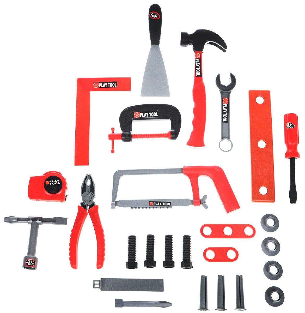 Altacto Игровой набор инструментов ВерстакALT0202-010Игровой набор инструментов Altacto Верстак станет отличным подарком для маленького мастера. В наборе имеется все, что может пригодиться юному строителю: молоток, гаечный ключ, 2 отвертки, струбцина, угольник, шпатель, ножовка, плоскогубцы, рулетка, напильник, различные скобяные изделия. Малыш сможет отремонтировать игрушки и устранить все неисправности в доме, помогая папе. Игры с этим набором способствуют развитию воображения и познавательного мышления. Все инструменты аккуратно складываются в специальный верстак-стульчик. Набор удобно хранить и переносить.