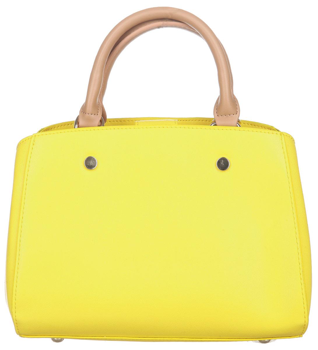 Сумка женская VelVet, цвет: желтый. 955-141286-172955-141286-172Оригинальная женская сумка VelVet выполнена из искусственной кожи, оформленной естественным тиснением. Сумка закрывается на хлястик с магнитным замком и состоит из двух вместительных отделений, разделенных средником на молнии. Внутри располагаются два открытых кармана для мелочи и мобильного телефона и прорезной карман на застежке-молнии. Металлические ножки на дне сумки обеспечивают необходимую устойчивость. Сумка оснащена удобными ручками для переноски и плечевым ремнем. Сумка - это стильный аксессуар, который подчеркнет вашу изысканность и индивидуальность и сделает ваш образ завершенным. С такой сумочкой вы не останетесь незамеченной.