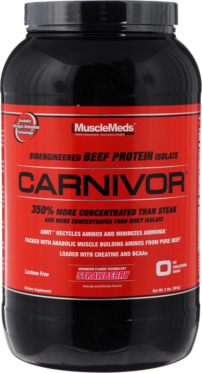 Протеин MuscleMeds Carnivor, клубника, 908 г0891597003761Протеин MuscleMeds Carnivor - высокоанаболическая белковая добавка для увеличения мускулатуры. Это первый в мире и самый продаваемый изолят белка из говядины. Благодаря говядине увеличивается масса и сила мышц. Принимая такой протеин ваш средний показатель прироста мышечной массы, составит почти 3,5 килограмма, а также и увеличение силы. Особенности протеина: - на 350% более концентрированный, чем стейк; - более концентрированный, чем изолят из сыворотки; - ANRT: рециркуляция аминокислот и снижение уровня аммиака; - богат аминокислотами, нужными для роста мышц, извлеченными из чистой говядины; - содержит креатин и аминокислоты с разветвленными боковыми цепями (BCAA). Состав: гидролизованный изолят говяжьего протеина, моногидрат креатина, BCAA, GKG, OKG, AKG, KIC, мальтодекстрин, гидролизованный желатин, лимонная кислота, яблочная кислота, диоксид кремния, ацесульфам калия, сукралоза, краситель. Количество...