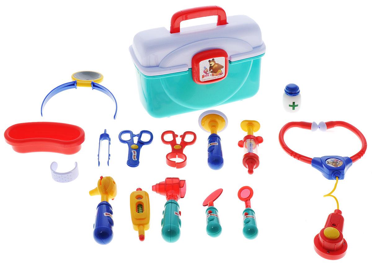 Играем вместе Игровой набор доктора Маша и Медведь 15 предметов1278Игровой набор доктора Играем вместе Маша и Медведь - лучший подарок для маленького исследователя. Ваш малыш будет развивать музыкальные и сенсорные способности, наглядно-образное мышление, концентрацию внимания и воображение. Мигающие инструменты, как у настоящего врача, стетоскоп со звуками сердечка и остальные инструменты в удобном чемоданчике обязательно заинтересуют ребенка. Рекомендуется докупить 8 батареек типа АG13 (товар комплектуется демонстрационными).
