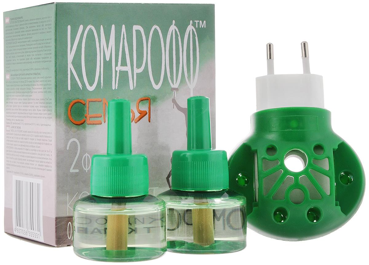 Фумигатор Комарофф Семья, универсальный, 2 флакона, без запаха, 90 ночейOF01060091Фумигатор Комарофф Семья используется для уничтожения комаров в помещениях площадью не менее 16 м2. Фумигатор с поворотной вилкой для жидкостных флаконов и пластин. Жидкость Комарофф Семья без запаха. Специально разработанная рецептура, без запаха, гарантирует безопасность и эффективность использования. Жидкость Комарофф Семья незаменима для уничтожения комаров и других летающих насекомых (москитов, мошек) в помещении. Один флакон жидкости обеспечивает надежную защиту от комаров на протяжении 90 ночей. Максимальный эффект достигается при использовании жидкости в комплекте с фумигатором Комарофф Семья. Объем жидкости: 30 мл. Комплектация: 2 флакона. Состав: ДВ: трансфлутрин 0,15%, праллетрин 0,80%, растворитель, стабилизатор. Количество ночей: 90. Товар сертифицирован.