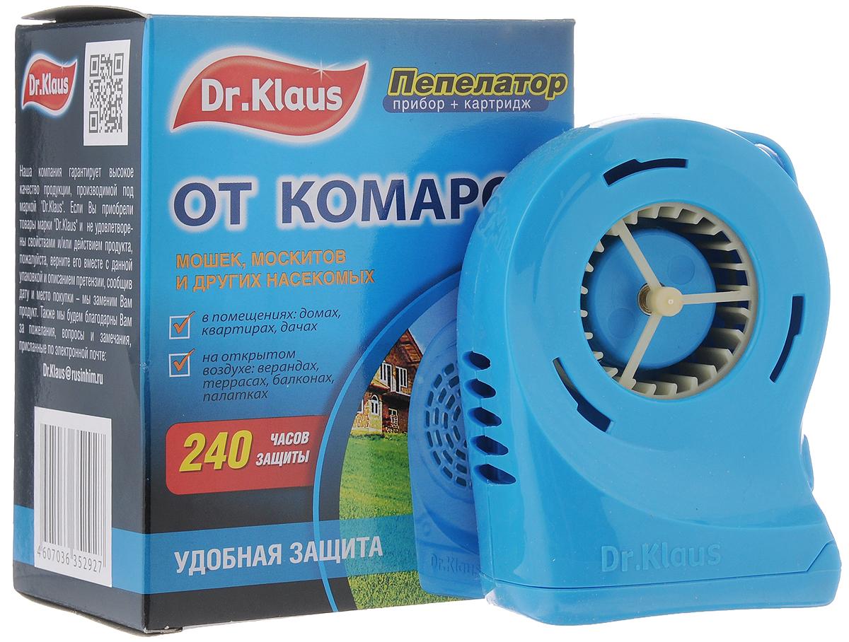 Пепелатор Dr.Klaus, прибор, кассета, 240 часов защитыDK34140031Пепелатор Dr.Klaus средство для защиты от комаров и других летающих насекомых (москитов, мошек, мокрецов) на открытом воздухе (в лесу, парках, у водоемов, на приусадебных участках в безветренную погоду) и в проветриваемых помещениях, автомобилях, палатках. Во время использования пепелатора на открытом воздухе размещать его с наветренной стороны на расстоянии не более 1-2 м или прикрепить его с помощью клипсы к ремню, к одежде. Картридж рассчитан на 240 часов после использования первого комплекта устанавливают второй. Замена картриджа осуществляется после использования 4 шт. батареек. 240 часов защиты. После применения прибор и картридж необходимо хранить в герметичной упаковке или полиэтиленовом пакете до последующего использования. Комплектация: Пепелатор. Картридж. Инструкция. Состав: флайтрин (трансфлутрин технический) 30%, технологические добавки. Товар сертифицирован.