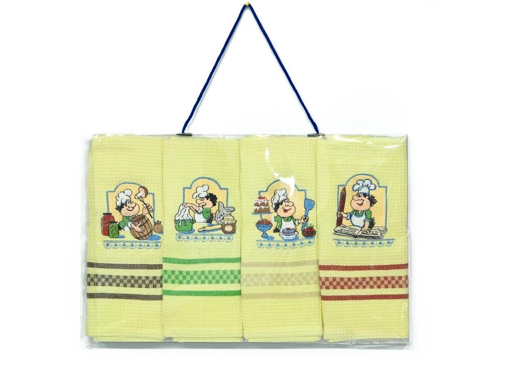 Набор кухонных полотенец Soavita Квартет. Поварята цвет: желтый, 40 х 60 см, 4 шт47773Перед использованием постирать при температуре не выше 40 градусов