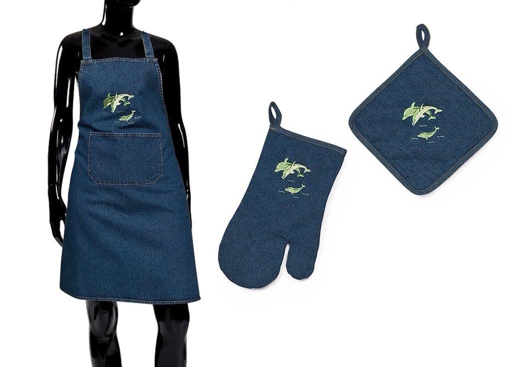 Варежка-прихватка Soavita Дельфины, цвет: синий, 18 х 30 см49144Перед использованием постирать при температуре не выше 40 градусов
