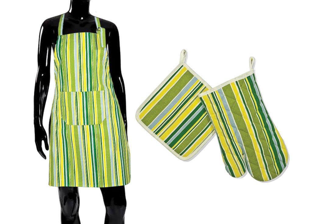 Комплект для кухни Soavita Весна, цвет: желтый, зеленый, 3 предмета49152Кухонный комплект Soavita Весна состоит из фартука, прихватки и прихватки-варежки. Все предметы изготовлены из натурального хлопка и оформлены ярким полосатым рисунком. Комплект идеально дополнит интерьер вашей кухни и создаст атмосферу уюта и комфорта. Высочайшее качество материала гарантирует безопасность не только взрослых, но и самых маленьких членов семьи. Размер фартука: 70 х 80 см. Размер прихватки: 20 х 20 см. Размер прихватки-варежки: 18 х 30 см.