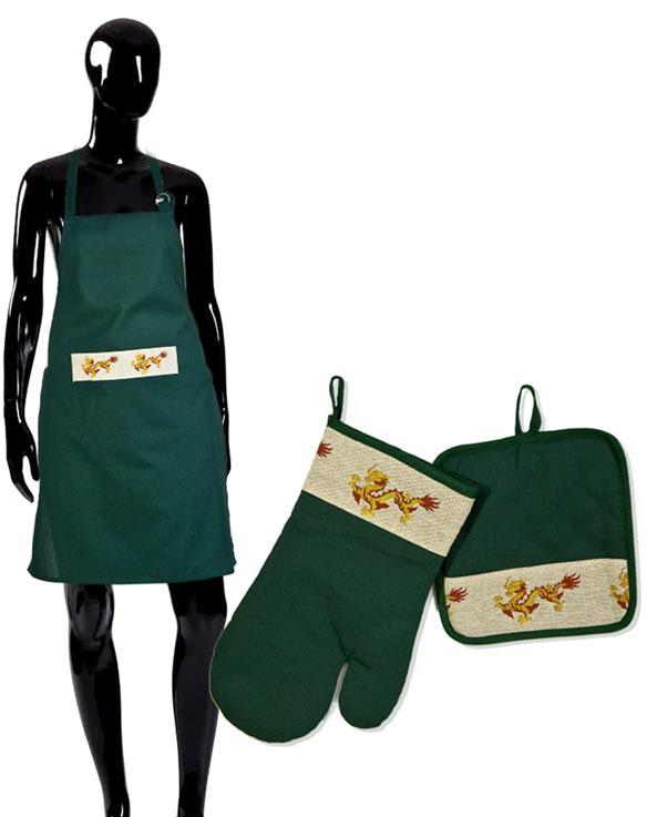Комплект кухонный Soavita Дракон, цвет: зеленый, 3 предмета49156Перед использованием постирать при температуре не выше 40 градусов