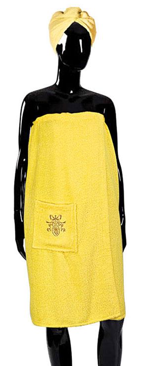 Набор для бани Soavita, цвет: желтый, 2 предмета56841Махровое полотно создается из хлопковых нитей, которые, в свою очередь, прядутся из множества хлопковых волокон. Чем длиннее эти волокна, тем прочнее будет нить, и, соответственно, изделие. Длина составляющих хлопковую нить волокон влияет и на фактуру получаемой ткани: чем они длиннее, тем мягче и пушистее получится махровое изделие, тем лучше будет впитывать изделие воду. Хотя на впитывающие качество махры – ее гигроскопичность, не в последнюю очередь влияет состав волокна. Мягкая махровая ткань отлично впитывает влагу и быстро сохнет. Soavita – это популярный бренд домашнего текстиля. Дизайнерская студия этой фирмы находится во Флоренции, Италия. Производство перенесено в Китай, чтобы сделать продукцию более доступной для покупателей. Таким образом, вы имеете возможность покупать продукцию европейского качества совсем не дорого. Домашний текстиль прослужит вам долго: все детали качественно прошиты, ткани очень плотные, рисунок наносится безопасными для здоровья красителями, не...