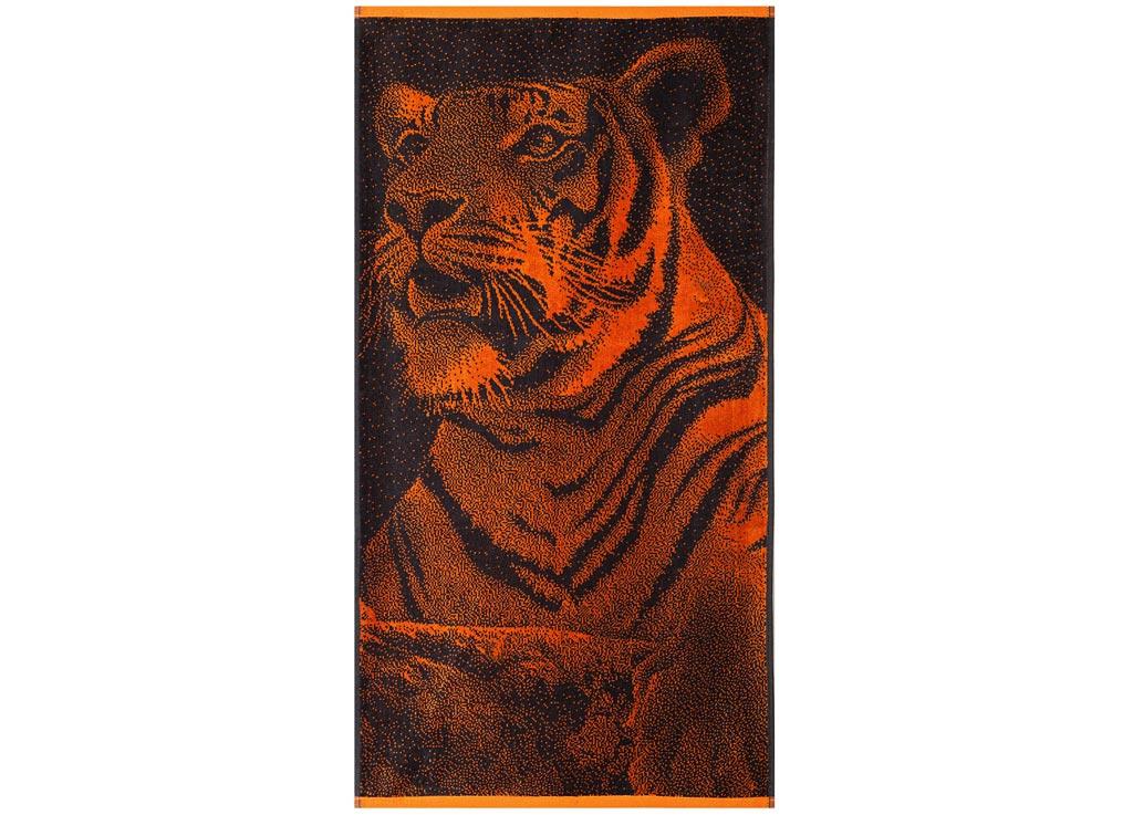 Полотенце Soavita Premium. Тигр, цвет: черный, оранжевый, 45 х 90 см63827Перед использованием постирать при температуре не выше 40 градусов