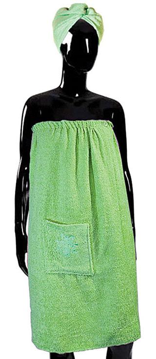 Комплект для бани и сауны Soavita, женский, цвет: салатовый, 2 предмета65621Женский набор для бани и сауны Soavita, выполненный из 100% хлопка, состоит из парео и чалмы для головы. Банное парео - это многофункциональное полотенце специального покроя с резинкой и липучкой, благодаря которым вы сами регулируете размер. Чалма - незаменимая вещь, которая позволит защитить голову и волосы от жара парной. Ее можно использовать в качестве полотенца. Изделия необычайно мягкие, с плотной невысокой махрой, обладают удивительной впитываемостью влаги. После многократной стирки, изделия не теряют своей яркости и мягкости, благодаря специальной технологии окраски и качественной махровой ткани. Размер парео: 80 х 140 см. Размер чалмы: 60 х 25 см.