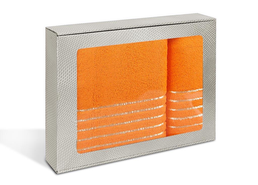 Набор махровых полотенец Soavita Olivia, цвет: оранжевый, 2 шт69898Махровое полотно создается из хлопковых нитей, которые, в свою очередь, прядутся из множества хлопковых волокон. Чем длиннее эти волокна, тем прочнее будет нить, и, соответственно, изделие. Длина составляющих хлопковую нить волокон влияет и на фактуру получаемой ткани: чем они длиннее, тем мягче и пушистее получится махровое изделие, тем лучше будет впитывать изделие воду. Хотя на впитывающие качество махры – ее гигроскопичность, не в последнюю очередь влияет состав волокна. Мягкая махровая ткань отлично впитывает влагу и быстро сохнет.