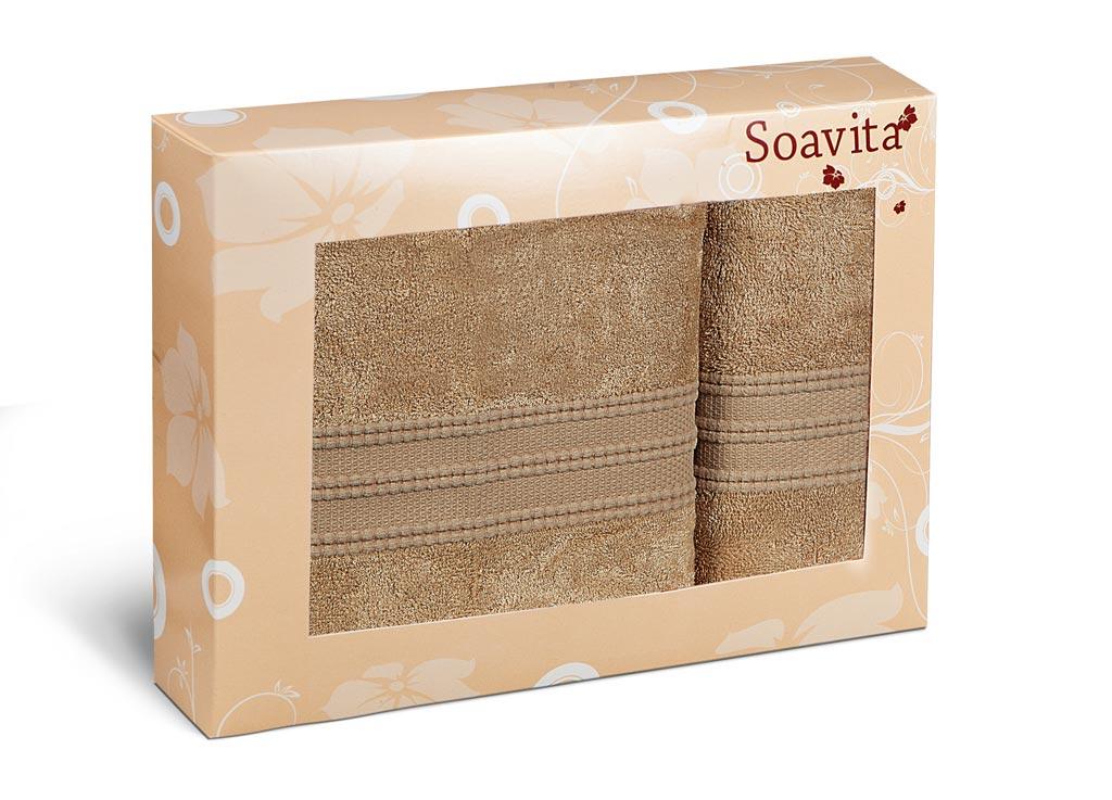 Набор махровых полотенец Soavita Вояж, цвет: коричневый, 2 шт70304Махровое полотно создается из хлопковых нитей, которые, в свою очередь, прядутся из множества хлопковых волокон. Чем длиннее эти волокна, тем прочнее будет нить, и, соответственно, изделие. Длина составляющих хлопковую нить волокон влияет и на фактуру получаемой ткани: чем они длиннее, тем мягче и пушистее получится махровое изделие, тем лучше будет впитывать изделие воду. Хотя на впитывающие качество махры – ее гигроскопичность, не в последнюю очередь влияет состав волокна. Мягкая махровая ткань отлично впитывает влагу и быстро сохнет.