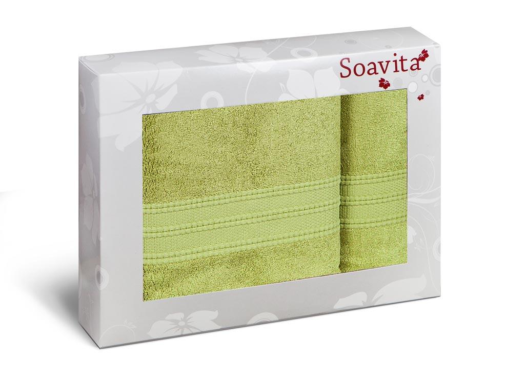 Набор махровых полотенец Soavita Вояж, цвет: зеленый, 2 шт70305Махровое полотно создается из хлопковых нитей, которые, в свою очередь, прядутся из множества хлопковых волокон. Чем длиннее эти волокна, тем прочнее будет нить, и, соответственно, изделие. Длина составляющих хлопковую нить волокон влияет и на фактуру получаемой ткани: чем они длиннее, тем мягче и пушистее получится махровое изделие, тем лучше будет впитывать изделие воду. Хотя на впитывающие качество махры – ее гигроскопичность, не в последнюю очередь влияет состав волокна. Мягкая махровая ткань отлично впитывает влагу и быстро сохнет.