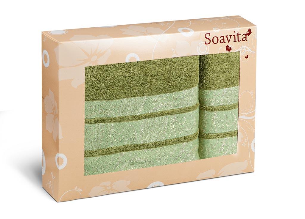 Набор махровых полотенец Soavita Almond, цвет: зеленый, 2 шт70310Махровое полотно создается из хлопковых нитей, которые, в свою очередь, прядутся из множества хлопковых волокон. Чем длиннее эти волокна, тем прочнее будет нить, и, соответственно, изделие. Длина составляющих хлопковую нить волокон влияет и на фактуру получаемой ткани: чем они длиннее, тем мягче и пушистее получится махровое изделие, тем лучше будет впитывать изделие воду. Хотя на впитывающие качество махры – ее гигроскопичность, не в последнюю очередь влияет состав волокна. Мягкая махровая ткань отлично впитывает влагу и быстро сохнет.