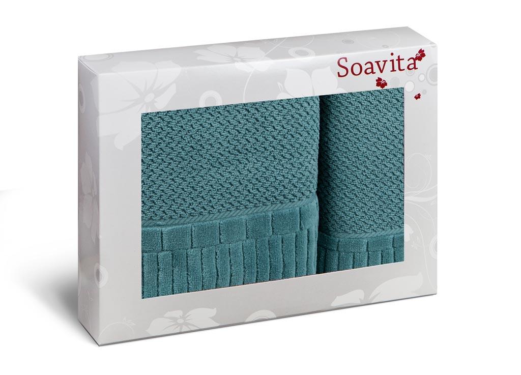 Набор махровых полотенец Soavita Mineola, цвет: темно-бирюзовый, 2 шт70312Махровое полотно создается из хлопковых нитей, которые, в свою очередь, прядутся из множества хлопковых волокон. Чем длиннее эти волокна, тем прочнее будет нить, и, соответственно, изделие. Длина составляющих хлопковую нить волокон влияет и на фактуру получаемой ткани: чем они длиннее, тем мягче и пушистее получится махровое изделие, тем лучше будет впитывать изделие воду. Хотя на впитывающие качество махры – ее гигроскопичность, не в последнюю очередь влияет состав волокна. Мягкая махровая ткань отлично впитывает влагу и быстро сохнет.