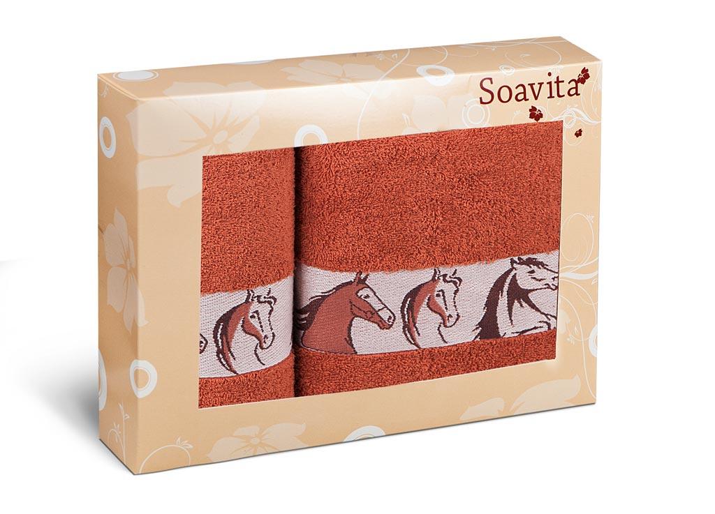 Набор махровых полотенец Soavita Лошади, цвет: терракотовый, 2 шт70334Махровое полотно создается из хлопковых нитей, которые, в свою очередь, прядутся из множества хлопковых волокон. Чем длиннее эти волокна, тем прочнее будет нить, и, соответственно, изделие. Длина составляющих хлопковую нить волокон влияет и на фактуру получаемой ткани: чем они длиннее, тем мягче и пушистее получится махровое изделие, тем лучше будет впитывать изделие воду. Хотя на впитывающие качество махры – ее гигроскопичность, не в последнюю очередь влияет состав волокна. Мягкая махровая ткань отлично впитывает влагу и быстро сохнет.