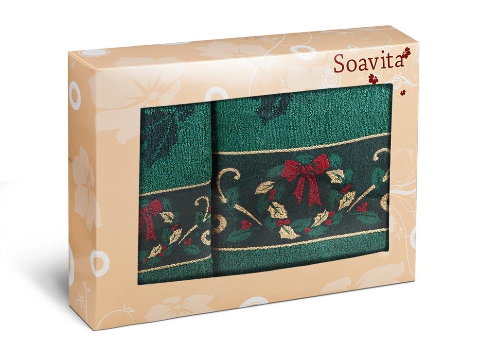 Набор махровых полотенец Soavita Garland, цвет: зеленый, 2 шт70362Махровое полотно создается из хлопковых нитей, которые, в свою очередь, прядутся из множества хлопковых волокон. Чем длиннее эти волокна, тем прочнее будет нить, и, соответственно, изделие. Длина составляющих хлопковую нить волокон влияет и на фактуру получаемой ткани: чем они длиннее, тем мягче и пушистее получится махровое изделие, тем лучше будет впитывать изделие воду. Хотя на впитывающие качество махры – ее гигроскопичность, не в последнюю очередь влияет состав волокна. Мягкая махровая ткань отлично впитывает влагу и быстро сохнет.
