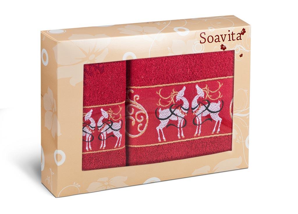 Набор махровых полотенец Soavita Deer, цвет: красный, 2 шт70363Махровое полотно создается из хлопковых нитей, которые, в свою очередь, прядутся из множества хлопковых волокон. Чем длиннее эти волокна, тем прочнее будет нить, и, соответственно, изделие. Длина составляющих хлопковую нить волокон влияет и на фактуру получаемой ткани: чем они длиннее, тем мягче и пушистее получится махровое изделие, тем лучше будет впитывать изделие воду. Хотя на впитывающие качество махры – ее гигроскопичность, не в последнюю очередь влияет состав волокна. Мягкая махровая ткань отлично впитывает влагу и быстро сохнет.
