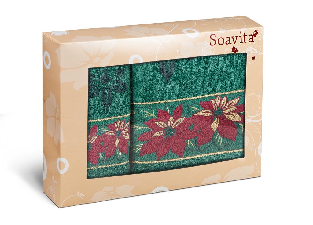 Набор махровых полотенец Soavita Flower, цвет: зеленый, 2 шт70364Махровое полотно создается из хлопковых нитей, которые, в свою очередь, прядутся из множества хлопковых волокон. Чем длиннее эти волокна, тем прочнее будет нить, и, соответственно, изделие. Длина составляющих хлопковую нить волокон влияет и на фактуру получаемой ткани: чем они длиннее, тем мягче и пушистее получится махровое изделие, тем лучше будет впитывать изделие воду. Хотя на впитывающие качество махры – ее гигроскопичность, не в последнюю очередь влияет состав волокна. Мягкая махровая ткань отлично впитывает влагу и быстро сохнет.