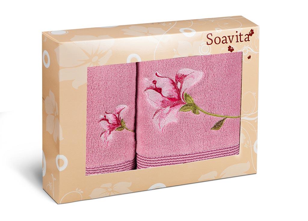 Набор махровых полотенец Soavita Alice, цвет: розовый, 2 шт71226Махровое полотно создается из хлопковых нитей, которые, в свою очередь, прядутся из множества хлопковых волокон. Чем длиннее эти волокна, тем прочнее будет нить, и, соответственно, изделие. Длина составляющих хлопковую нить волокон влияет и на фактуру получаемой ткани: чем они длиннее, тем мягче и пушистее получится махровое изделие, тем лучше будет впитывать изделие воду. Хотя на впитывающие качество махры – ее гигроскопичность, не в последнюю очередь влияет состав волокна. Мягкая махровая ткань отлично впитывает влагу и быстро сохнет.