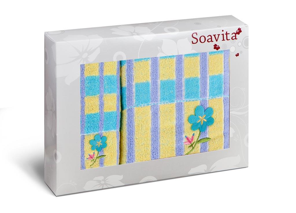 Набор полотенец Soavita Premium. Linda, цвет: голубой, сиреневый, желтый, 2 шт71240Набор Soavita Premium. Linda состоит из двух полотенец разного размера. Изделия выполнены из 100% хлопка. Полотенца отлично впитывают влагу, быстро сохнут, сохраняют яркость цвета и не теряют форму даже после многократных стирок. Такие полотенца очень практичны и неприхотливы в уходе. Набор Soavita создаст прекрасное настроение и украсит интерьер в ванной комнате.