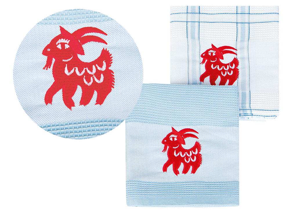 Набор кухонных полотенец Soavita Символ Года цвет: голубой, 43 х 68 см, 2 шт74709Перед использованием постирать при температуре не выше 40 градусов