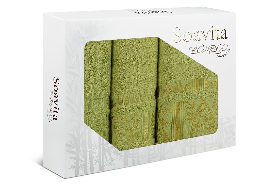 Набор махровых полотенец Soavita Sofia, цвет: зеленый, 3 шт74767Махровое полотно создается из хлопковых нитей, которые, в свою очередь, прядутся из множества хлопковых волокон. Чем длиннее эти волокна, тем прочнее будет нить, и, соответственно, изделие. Длина составляющих хлопковую нить волокон влияет и на фактуру получаемой ткани: чем они длиннее, тем мягче и пушистее получится махровое изделие, тем лучше будет впитывать изделие воду. Хотя на впитывающие качество махры – ее гигроскопичность, не в последнюю очередь влияет состав волокна. Мягкая махровая ткань отлично впитывает влагу и быстро сохнет.