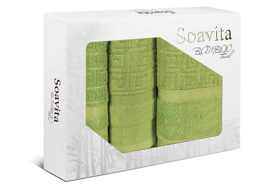 Набор махровых полотенец Soavita Alber, цвет: зеленый, 3 шт74772Махровое полотно создается из хлопковых нитей, которые, в свою очередь, прядутся из множества хлопковых волокон. Чем длиннее эти волокна, тем прочнее будет нить, и, соответственно, изделие. Длина составляющих хлопковую нить волокон влияет и на фактуру получаемой ткани: чем они длиннее, тем мягче и пушистее получится махровое изделие, тем лучше будет впитывать изделие воду. Хотя на впитывающие качество махры – ее гигроскопичность, не в последнюю очередь влияет состав волокна. Мягкая махровая ткань отлично впитывает влагу и быстро сохнет.