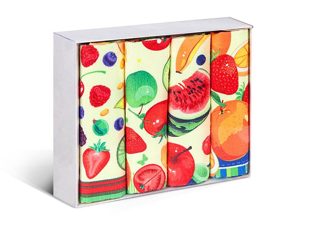 Набор полотенец Soavita Fruit, 38 х 64 см, 4 шт75837Микрофибра - материал высочайшего качества, изготовленный из сложных микроволокон, по ощущениям напоминает велюр и передающий уникальное и невероятное чувство мягкости. Ткань из микрофибры дышащая, устойчива к загрязнениям и пятнам, сохраняет свой высококачественный внешний вид и уникальную мягкость в течении всего срока службы. Soavita – это популярный бренд домашнего текстиля. Дизайнерская студия этой фирмы находится во Флоренции, Италия. Производство перенесено в Китай, чтобы сделать продукцию более доступной для покупателей. Таким образом, вы имеете возможность покупать продукцию европейского качества совсем не дорого. Домашний текстиль прослужит вам долго: все детали качественно прошиты, ткани очень плотные, рисунок наносится безопасными для здоровья красителями, не линяет и держится много лет. Все изделия упакованы в подарочные упаковки.
