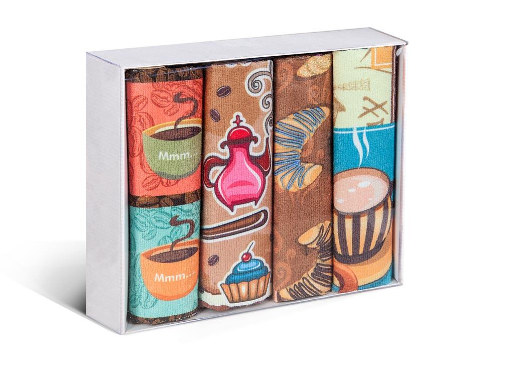 Набор полотенец Soavita Coffee, 38 х 64 см, 4 шт75839Микрофибра - материал высочайшего качества, изготовленный из сложных микроволокон, по ощущениям напоминает велюр и передающий уникальное и невероятное чувство мягкости. Ткань из микрофибры дышащая, устойчива к загрязнениям и пятнам, сохраняет свой высококачественный внешний вид и уникальную мягкость в течении всего срока службы. Soavita – это популярный бренд домашнего текстиля. Дизайнерская студия этой фирмы находится во Флоренции, Италия. Производство перенесено в Китай, чтобы сделать продукцию более доступной для покупателей. Таким образом, вы имеете возможность покупать продукцию европейского качества совсем не дорого. Домашний текстиль прослужит вам долго: все детали качественно прошиты, ткани очень плотные, рисунок наносится безопасными для здоровья красителями, не линяет и держится много лет. Все изделия упакованы в подарочные упаковки.