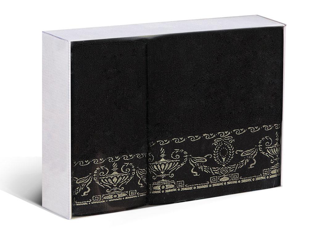 Набор полотенец Soavita Амфора, цвет: черный, 2 шт77698Набор Soavita Амфора состоит из 2 махровых полотенец. Изделия выполнены из хлопка. Полотенца используются для протирки различных поверхностей, также широко применяются в быту. Такой набор станет отличным вариантом для практичной и современной хозяйки. Махровое полотно создается из хлопковых нитей, которые, в свою очередь, прядутся из множества хлопковых волокон. Чем длиннее эти волокна, тем прочнее будет нить, и, соответственно, изделие. Длина составляющих хлопковую нить волокон влияет и на фактуру получаемой ткани: чем они длиннее, тем мягче и пушистее получится махровое изделие, тем лучше будет впитывать изделие воду. Хотя на впитывающие качество махры - ее гигроскопичность, не в последнюю очередь влияет состав волокна. Мягкая махровая ткань отлично впитывает влагу и быстро сохнет. Размер полотенец: 45 х 80 см, 65 х 125 см.