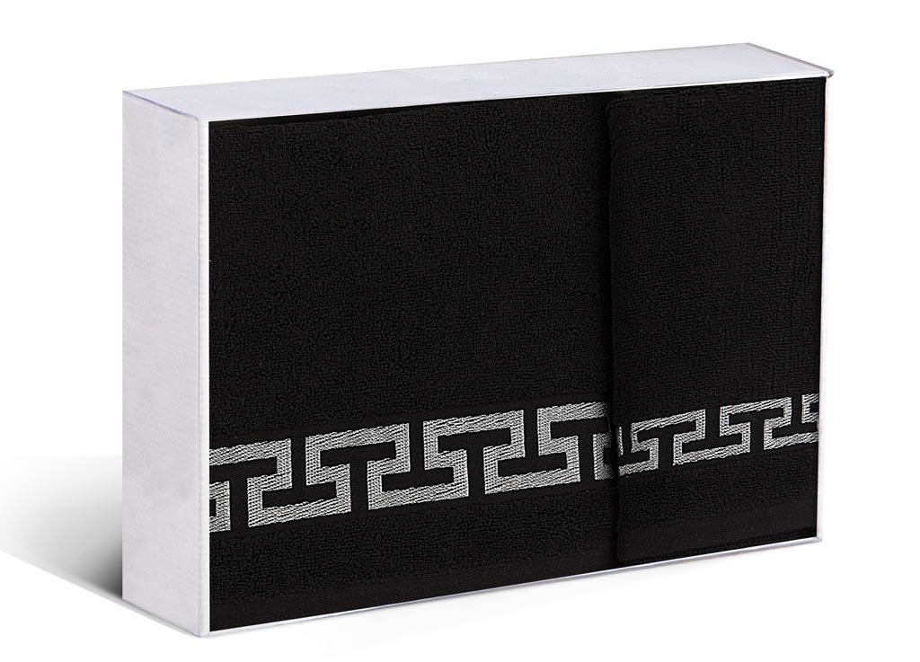 Набор махровых полотенец Soavita Дайона, цвет: черный, 2 шт77700Махровое полотно создается из хлопковых нитей, которые, в свою очередь, прядутся из множества хлопковых волокон. Чем длиннее эти волокна, тем прочнее будет нить, и, соответственно, изделие. Длина составляющих хлопковую нить волокон влияет и на фактуру получаемой ткани: чем они длиннее, тем мягче и пушистее получится махровое изделие, тем лучше будет впитывать изделие воду. Хотя на впитывающие качество махры – ее гигроскопичность, не в последнюю очередь влияет состав волокна. Мягкая махровая ткань отлично впитывает влагу и быстро сохнет.