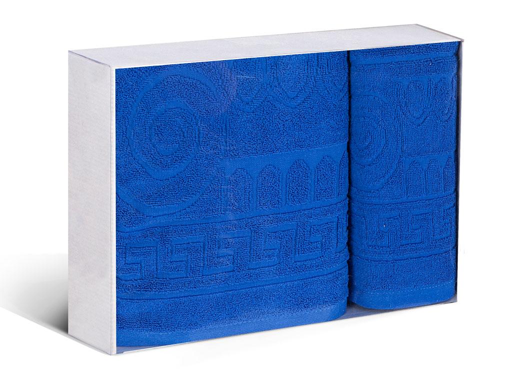 Набор махровых полотенец Soavita Капитель, цвет: синий, 2 шт77707Махровое полотно создается из хлопковых нитей, которые, в свою очередь, прядутся из множества хлопковых волокон. Чем длиннее эти волокна, тем прочнее будет нить, и, соответственно, изделие. Длина составляющих хлопковую нить волокон влияет и на фактуру получаемой ткани: чем они длиннее, тем мягче и пушистее получится махровое изделие, тем лучше будет впитывать изделие воду. Хотя на впитывающие качество махры – ее гигроскопичность, не в последнюю очередь влияет состав волокна. Мягкая махровая ткань отлично впитывает влагу и быстро сохнет.