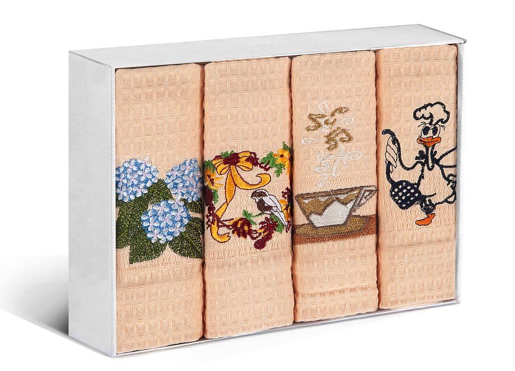 Набор кухонных полотенец Soavita, цвет: персиковый, 40 х 60 см, 4 шт. 7989679896Набор Soavita состоит из 4 вафельных полотенец. Изделия выполнены из высококачественного 100% хлопка и оформлены яркими, оригинальными вышивками. Полотенца используются для протирки различных поверхностей, также широко применяются в быту. Такой набор станет отличным вариантом для практичной и современной хозяйки.
