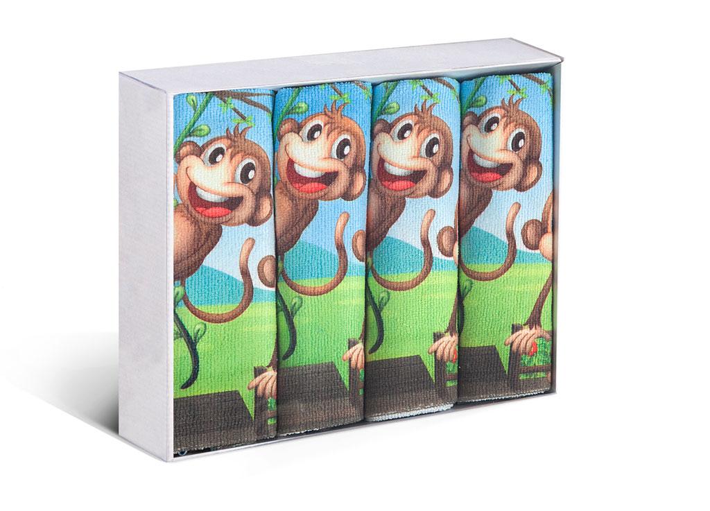 Набор полотенец Soavita Monkey, 38 х 64 см, 4 шт. 8220182201Микрофибра - материал высочайшего качества, изготовленный из сложных микроволокон, по ощущениям напоминает велюр и передающий уникальное и невероятное чувство мягкости. Ткань из микрофибры дышащая, устойчива к загрязнениям и пятнам, сохраняет свой высококачественный внешний вид и уникальную мягкость в течении всего срока службы. Soavita – это популярный бренд домашнего текстиля. Дизайнерская студия этой фирмы находится во Флоренции, Италия. Производство перенесено в Китай, чтобы сделать продукцию более доступной для покупателей. Таким образом, вы имеете возможность покупать продукцию европейского качества совсем не дорого. Домашний текстиль прослужит вам долго: все детали качественно прошиты, ткани очень плотные, рисунок наносится безопасными для здоровья красителями, не линяет и держится много лет. Все изделия упакованы в подарочные упаковки.