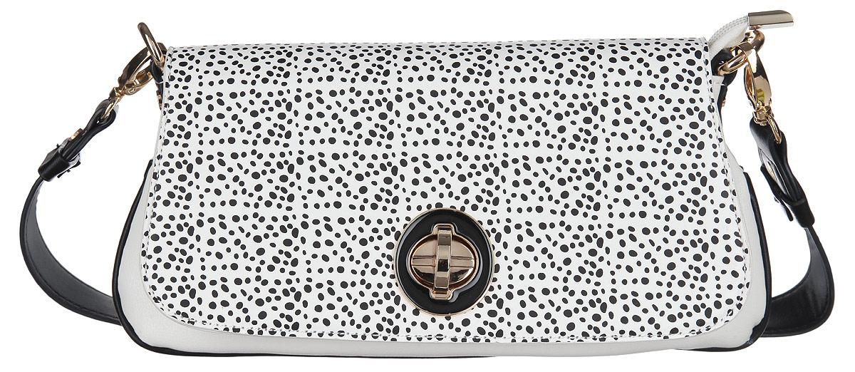 Сумка женская Calipso, цвет: черный, белый. 465-011286-231465-011286-231Изысканная женская сумка Calipso выполнена из искусственной кожи. Сумка состоит из одного основного отделения, закрывающегося на пластиковую застежку-молнию и дополнительно клапаном на замок-вертушку. Клапан оформлен оригинальным принтом. Модель содержит врезной карман на молнии, небольшой накладной кармашек и ремешок с кольцом для ключей. На задней стенке изделия расположен врезной карман на молнии. Сумка оснащена съемной ручкой и съемным плечевым ремнем, регулируемой длины. Прилагается фирменный текстильный чехол для хранения. Сумка - это стильный аксессуар, который сделает ваш образ изысканным и завершенным. Оригинальное оформление сумки Calipso подчеркнет ваше отменное чувство стиля.